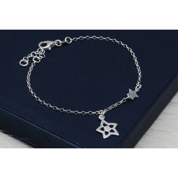 925 Sterling Silver Italian Rolo Diamond Cut Chain Lock And Key Charm Anklet Jewelry & Watches Fine Anklets