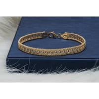Pori Jewelers 18K Gold ptd Sterling Silver Chain Mesh Bracelet - Yellow
