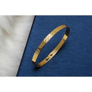 Pori Jewelers 18K Gold ptd Sterling Silver Engravable Bangle - White