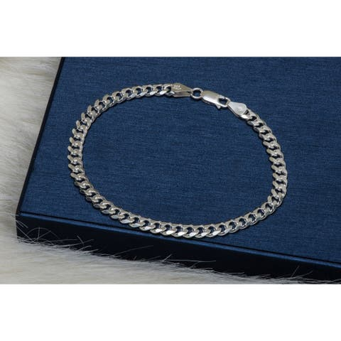 Pori Jewelers Sterling Silver Cuban Chain Bracelet - White