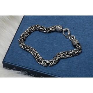 Pori Jewelers Sterling Silver Oxidized Byzabtino Bracelet - White