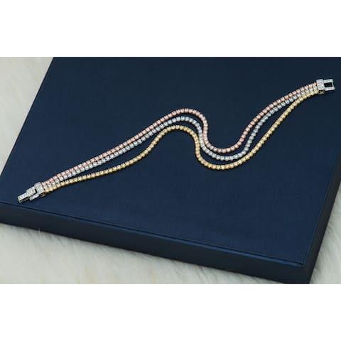Pori Jewelers 3-tone 18K Gold ptd Sterling Silver 3-Row Tennis Bracelet wCrystals by Swarovski - Multi