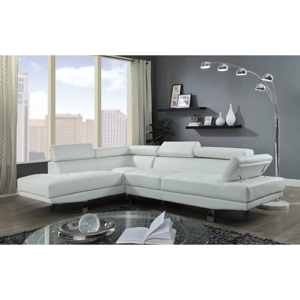Shop Acme Connor L Shape Sectional Sofa In Cream Faux