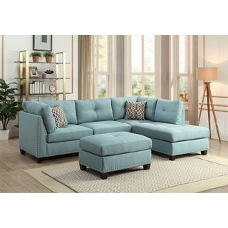 ACME Laurissa L Shape Sectional Sofa with Ottoman in Light Teal Linen