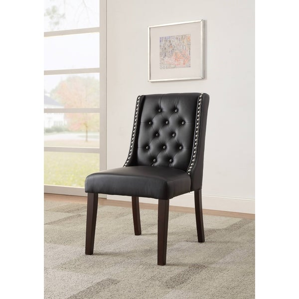 ACME Casey Parsons Chair in Black Faux Leather, Set of 2