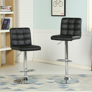 Bordeau Swivel Faux Leather Ajustable Hydraulic Double-Stitch Bar Stool, Set of 2