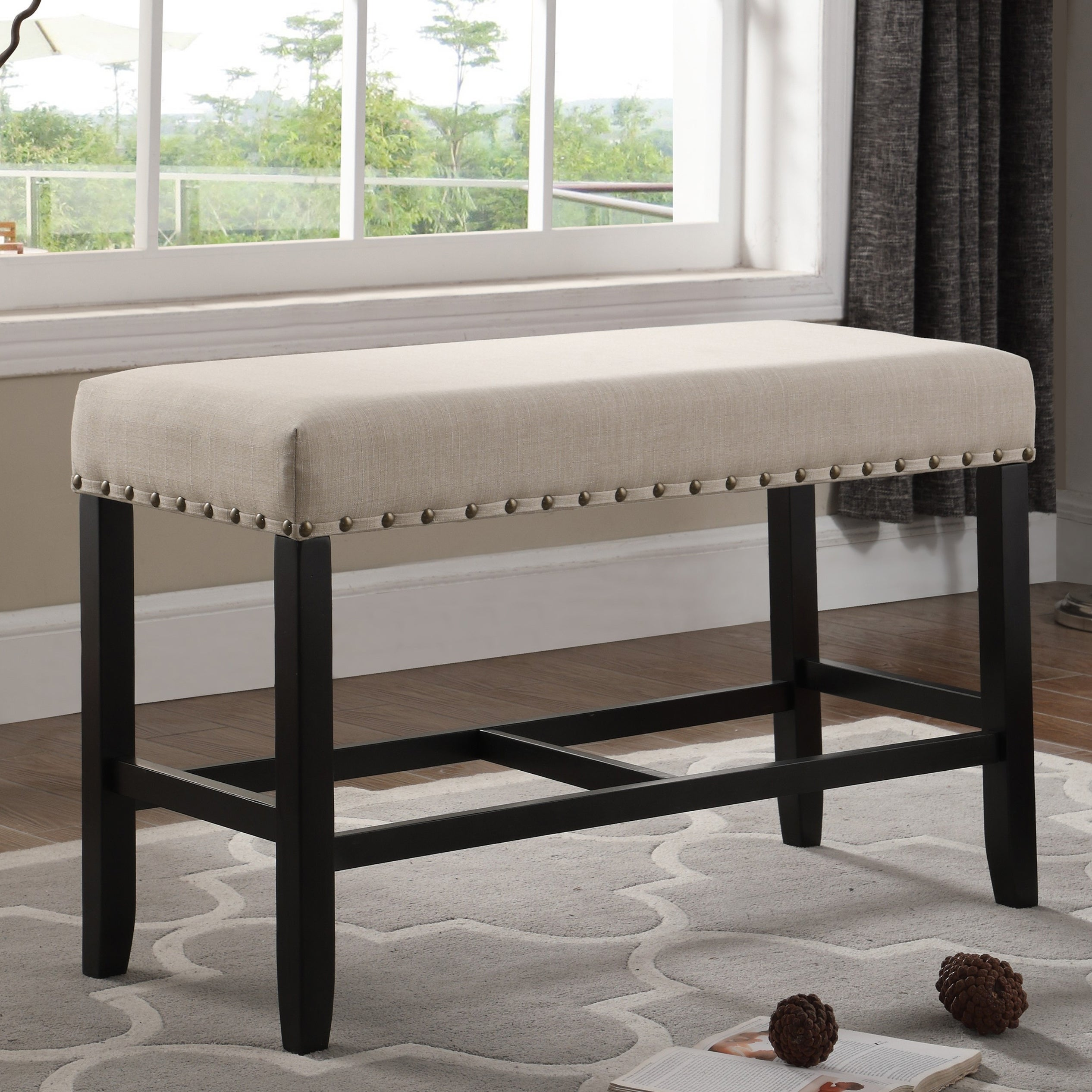 Brilliant Biony Blue Fabric Counter Height Dining Bench With Nailhead Trim Cjindustries Chair Design For Home Cjindustriesco