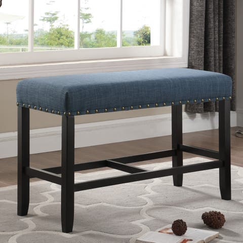 Biony Blue Fabric Counter Height Dining Bench with Nailhead Trim