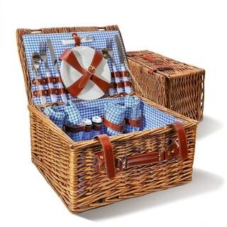 Wicker 4 Person Picnic Basket Hamper Set
