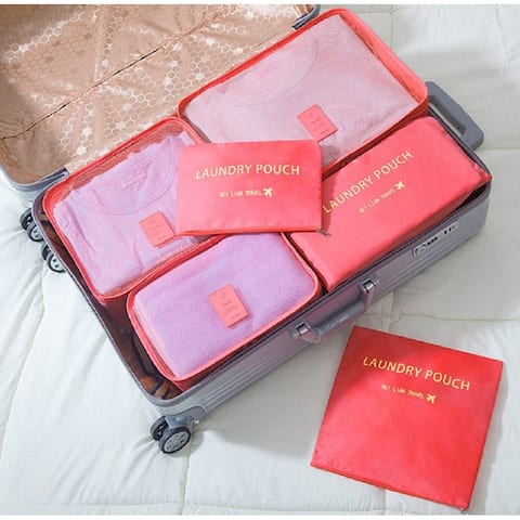 Packing Cubes for Luggage Travel Clothes Storage Bags, Organizer pouch. 6pc set (Watermelon)