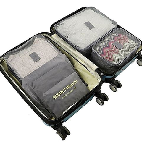 Packing Cubes for Luggage Travel Clothes Storage Bags, Organizer pouch. 6pc set (Grey)