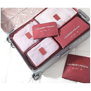 Packing Cubes for Luggage Travel Clothes Storage Bags, Organizer pouch. 6pc set (Burgundy)