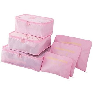 Packing Cubes for Luggage Travel Clothes Storage Bags, Organizer pouch. 6pc set (Pink)