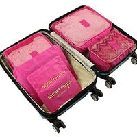 Packing Cubes for Luggage Travel Clothes Storage Bags, Organizer pouch. 6pc set (hot Pink)
