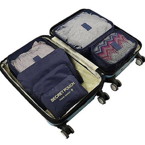 Packing Cubes for Luggage Travel Clothes Storage Bags, Organizer pouch. 6pc set (Navy)