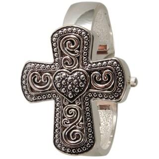 Olivia Pratt Women's Cross and Heart Cuff Watch