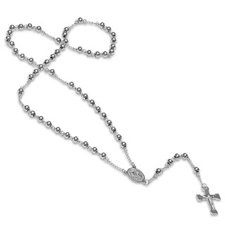 Steeltime Stainless Steel Beaded Classic Rosary Necklace in 2 Colors