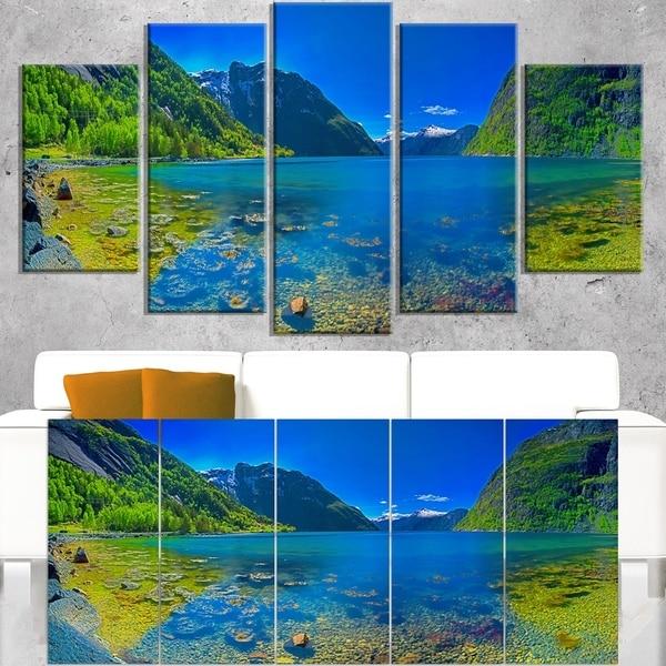 Panoramic View of Norwegian Fjord - Landscape Art Print Canvas