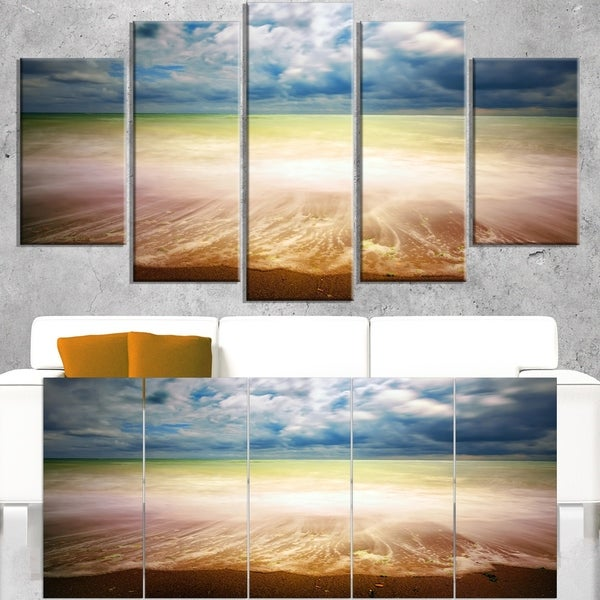 Exotic Beach on Cloudy Summer Day - Contemporary Seascape Art Canvas