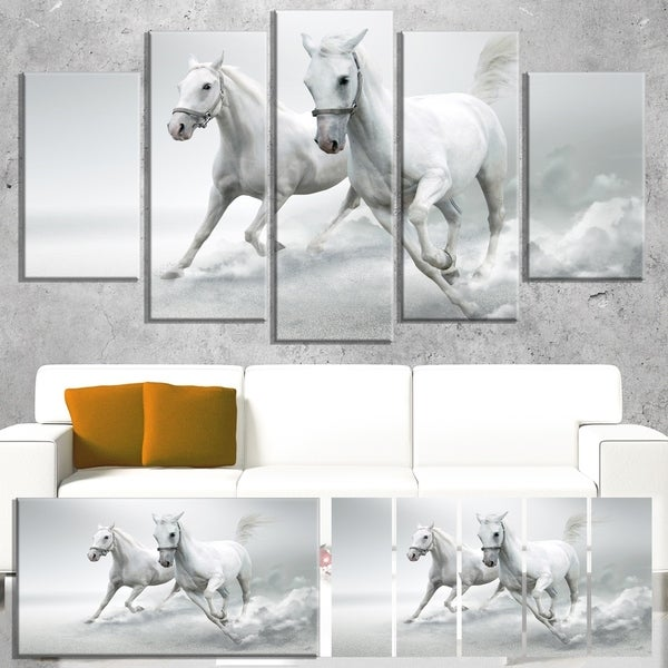 Designart 'Running White Horses' Extra Large Animal Artwork