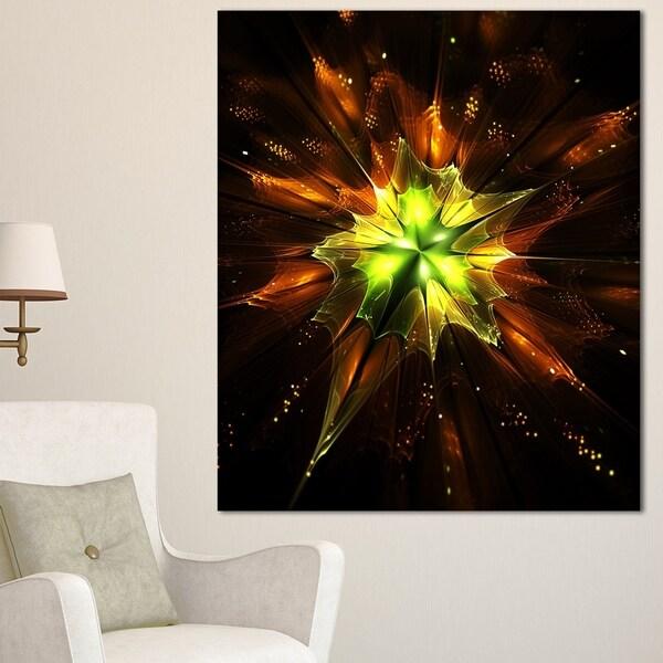 Designart 'Orange Yellow Green Fractal Flower' Flower Canvas Print Artwork