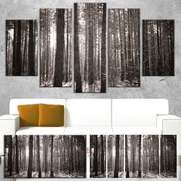 Designart 'Beautiful Misty Forest in the Autumn' Large Forest Canvas Art