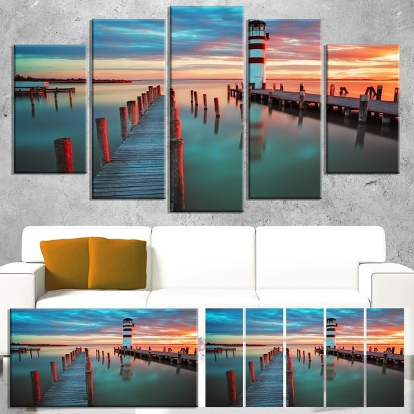 Designart 'Lighthouse at Lake in Neusiedl am See' Large Landscape Canvas Art