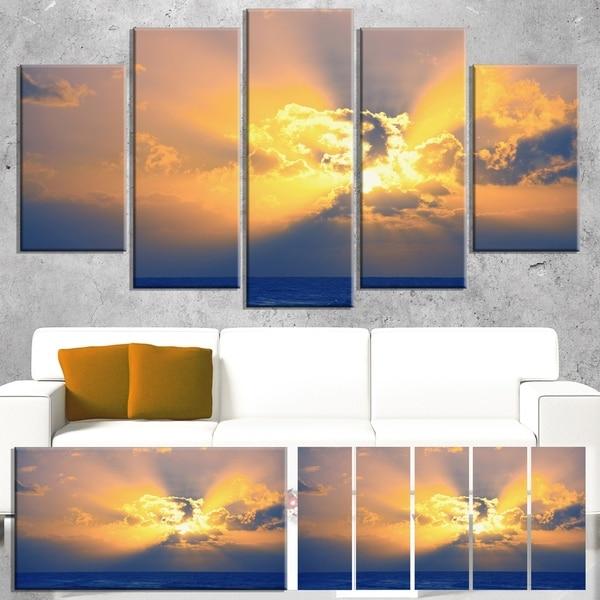 Designart 'Scenic Yellow Sunset in Ocean' Oversized Landscape Canvas Art