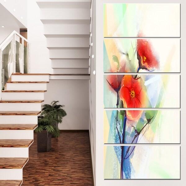 Designart 'Red Poppy Flowers on Grunge Back' Flower Canvas Print Artwork