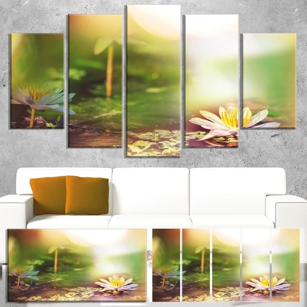 Designart 'Lotus Flowers on Green Background' Large Flower Wall Artwork