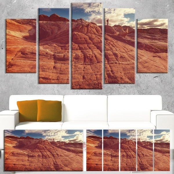 Designart 'Vermilion Cliffs At Sunrise' Oversized Landscape Canvas Art