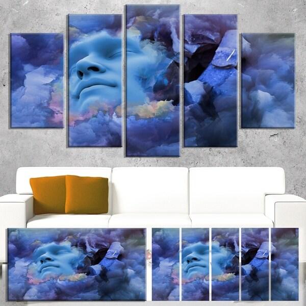 Designart 'Game Of Dream Woman Sleeping' Abstract Canvas Wall Art Print