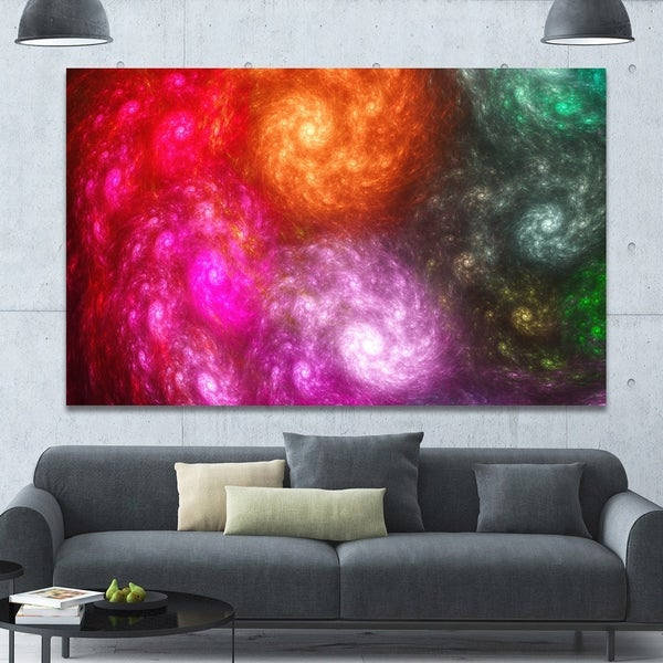 Designart 'Multi-Color Rotating Galaxies' Extra Large Abstract Canvas Wall Art