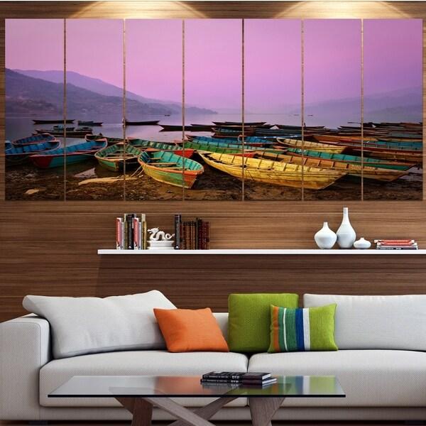 Designart 'Boats under Twilight Sky in Phewa' Boat Wall Artwork on Canvas