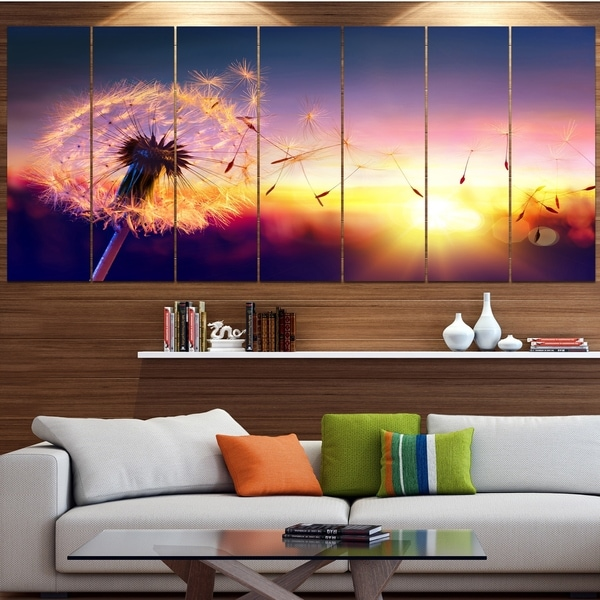 Designart 'Dandelion at Sunset Freedom to Wish' Abstract Wall Art Canvas