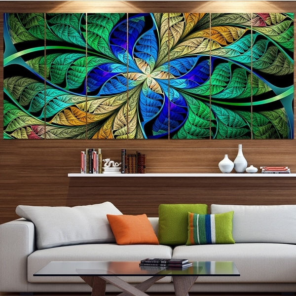 Designart 'Blue Green Fractal Flower Petals' Abstract Wall Art on Canvas