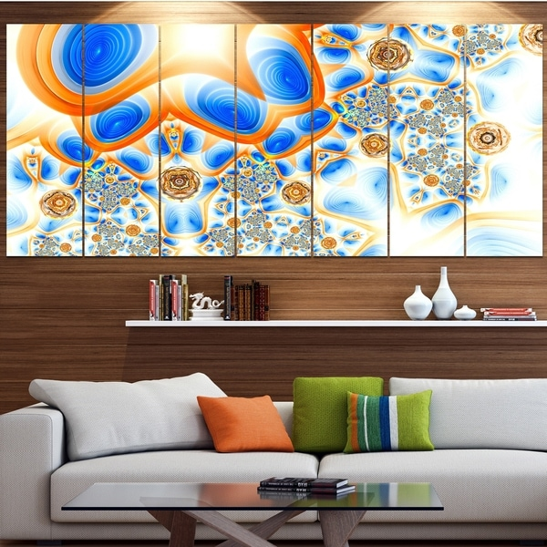Designart 'Yellow Blue Exotic Pattern' Abstract Wall Art Canvas
