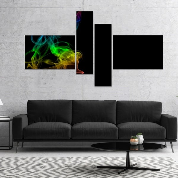 Designart 'Colorful Abstract Smoke Waves' Abstract Canvas Wall Art