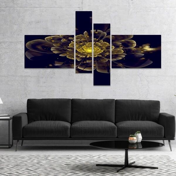 Designart 'Golden Metallic Fractal Flower' Abstract Print On Canvas