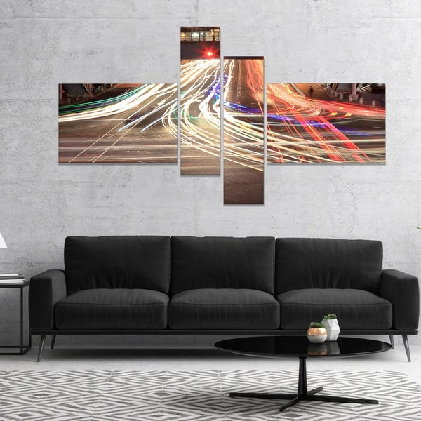 Designart 'Light Traces on Crossroad' Cityscape Digital Art Canvas Print