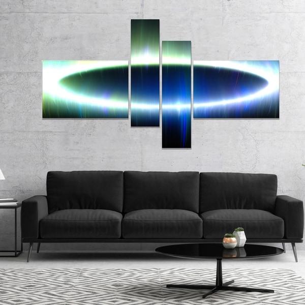 Designart 'Large Blue Oval Fractal Light' Abstract Canvas Art Print