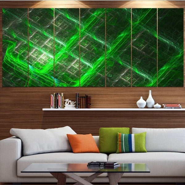 Designart 'Green Abstract Metal Grill' Abstract Art on Canvas