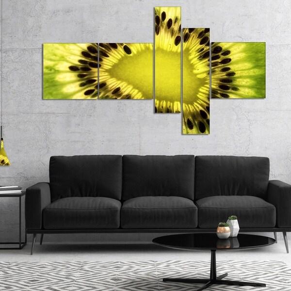 Designart 'Green Kiwi Seeds and Inside Pattern' Abstract Canvas Art Print