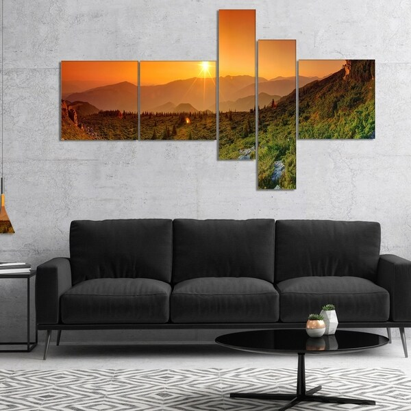 Designart 'Summer in Mountains Panorama' Abstract Wall Art Canvas