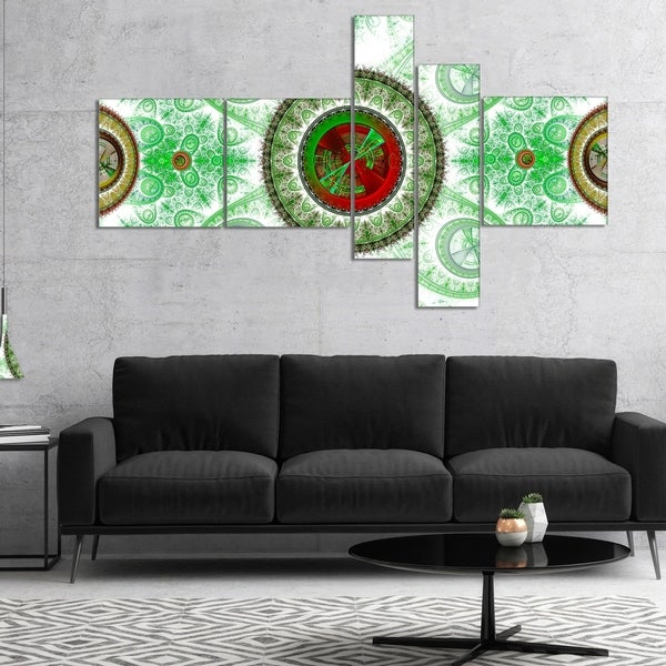 Designart 'Light Green Psychedelic Relaxing Art' Abstract Canvas Art Print