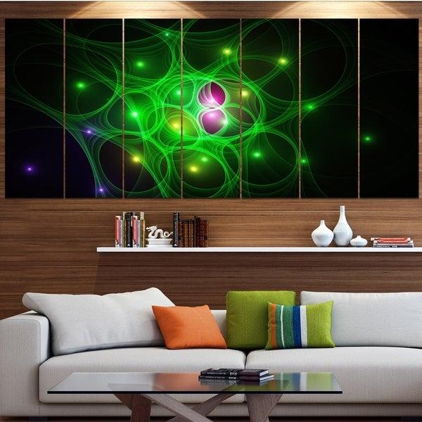Designart 'Green Fractal Space Circles' Abstract Wall Art on Canvas