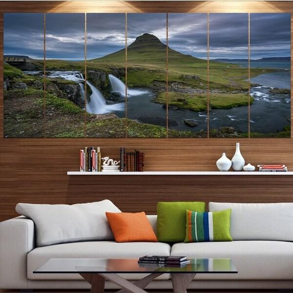 Designart 'Beautiful Kirkjufellsfoss Waterfall' Landscape Canvas Wall Artwork