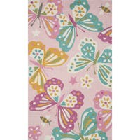 Hand-hooked Pink/ Teal Butterfly Kids Rug (2'3 x 3'9)