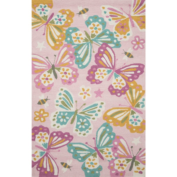 """Hand-hooked Pink/ Teal Butterfly Kids Rug (3'6 x 5'6) - 3'6"""" x 5'6"""""""