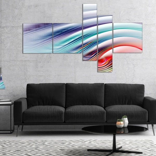 Designart 'Water Ripples Rainbow Waves' Abstract Canvas Art Print